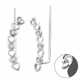 Heart - 925 Sterling Silver Cuff Earrings SD24366