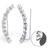 Curved - 925 Sterling Silver Cuff Earrings SD24571