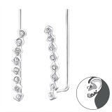 Round - 925 Sterling Silver Cuff Earrings SD24573
