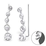 Round - 925 Sterling Silver Cuff Earrings SD24574