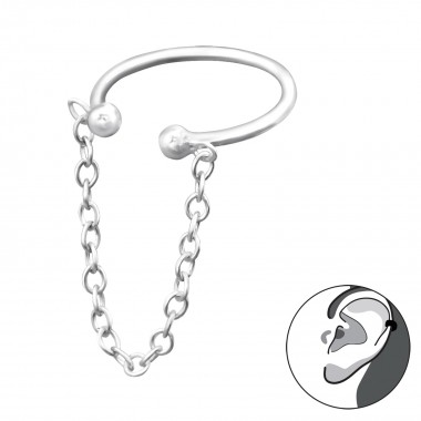 Hanging Chain Ear Cuff - 925 Sterling Silver Cuff Earrings SD31134