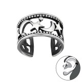 Moon And Star - 925 Sterling Silver Cuff Earrings SD32205