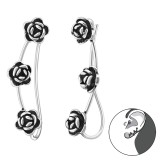 Rose - 925 Sterling Silver Cuff Earrings SD34862