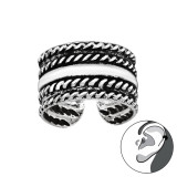 Rope - 925 Sterling Silver Cuff Earrings SD41707