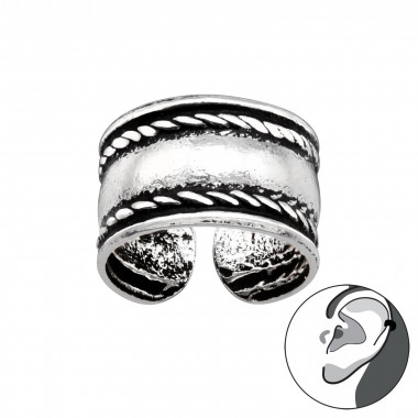 Rope - 925 Sterling Silver Cuff Earrings SD41737