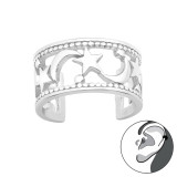 Moon And Star - 925 Sterling Silver Cuff Earrings SD42252