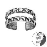 Star And Moon - 925 Sterling Silver Cuff Earrings SD42494