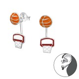 Basketball Lovers - 925 Sterling Silver Ear Jackets & Double Earrings SD30421