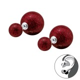 Double Glitter Ball - 925 Sterling Silver Ear Jackets & Double Earrings SD31654