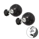 Round - 925 Sterling Silver Ear Jackets & Double Earrings SD35594