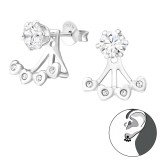 Heart - 925 Sterling Silver Ear Jackets & Double Earrings SD37587