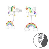 Unicorn And Rainbow - 925 Sterling Silver Ear Jackets & Double Earrings SD39860