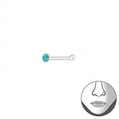 Silver Round 1.5Mm Nose Studs With Ball And Crystal - 925 Sterling Silver Nose Studs SD37467