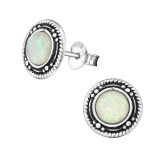 Round Oxidized - 925 Sterling Silver Semi-Precious Stud Earrings SD32038