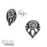 Antique - 925 Sterling Silver Semi-Precious Stud Earrings SD33855
