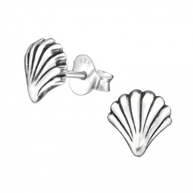 Shell - 925 Sterling Silver Simple Stud Earrings SD30947