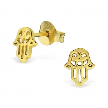 Hamsa - 925 Sterling Silver Simple Stud Earrings SD31752