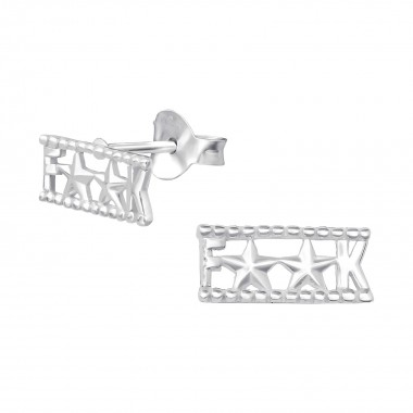 F**k - 925 Sterling Silver Simple Stud Earrings SD35752