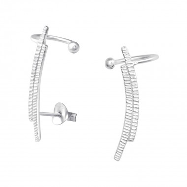 Silver Curved Ear Studs Wit...