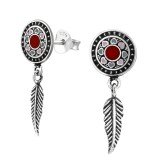 Round Ear Studs With Hanging Feather - 925 Sterling Silver Simple Stud Earrings SD37082