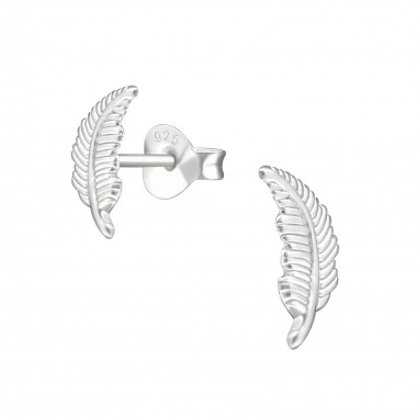 Feather - 925 Sterling Silver Simple Stud Earrings SD38532