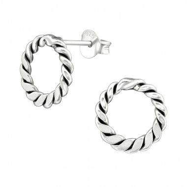 Twisted - 925 Sterling Silver Simple Stud Earrings SD38535