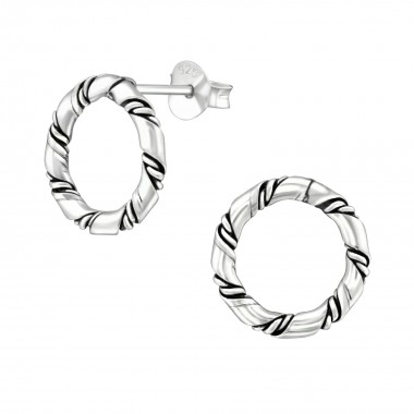 Twisted - 925 Sterling Silver Simple Stud Earrings SD38537