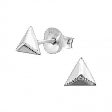 Pyramid - 925 Sterling Silver Simple Stud Earrings SD38653