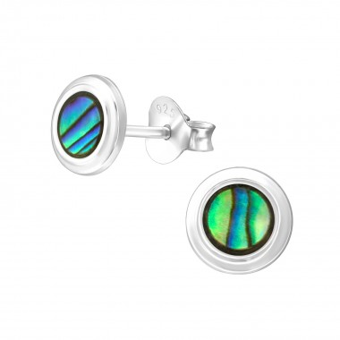 Round - 925 Sterling Silver Simple Stud Earrings SD38875