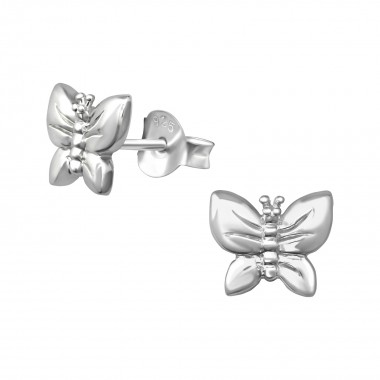 Butterfly - 925 Sterling Silver Simple Stud Earrings SD38877