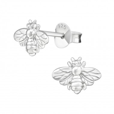 Bee - 925 Sterling Silver Simple Stud Earrings SD38880