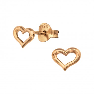Heart - 925 Sterling Silver Simple Stud Earrings SD38884