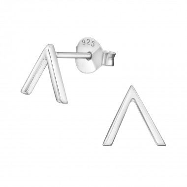 V Shaped - 925 Sterling Silver Simple Stud Earrings SD38886
