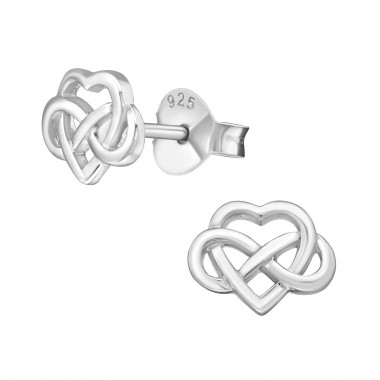 Celtic Heart - 925 Sterling Silver Simple Stud Earrings SD38887