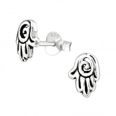 Hamsa - 925 Sterling Silver Simple Stud Earrings SD38889