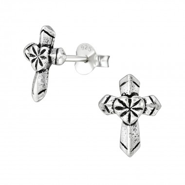 Cross - 925 Sterling Silver Simple Stud Earrings SD38890