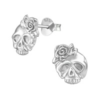 Skull - 925 Sterling Silver Simple Stud Earrings SD38901