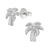 Coconut Tree - 925 Sterling Silver Simple Stud Earrings SD38907