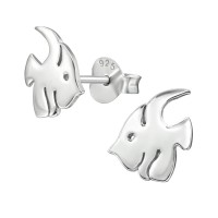 Fish - 925 Sterling Silver Simple Stud Earrings SD38919