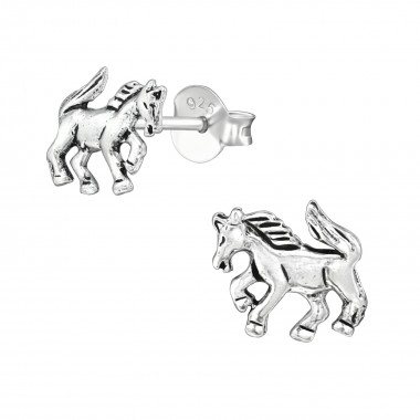 Horse - 925 Sterling Silver Simple Stud Earrings SD39130