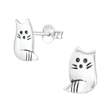 Cat - 925 Sterling Silver Simple Stud Earrings SD39131