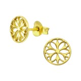 Flower - 925 Sterling Silver Simple Stud Earrings SD39304