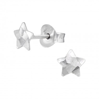 Star - 925 Sterling Silver Simple Stud Earrings SD39455