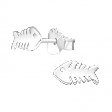 Fishbone - 925 Sterling Silver Simple Stud Earrings SD39579