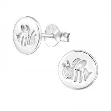 Bee - 925 Sterling Silver Simple Stud Earrings SD39651