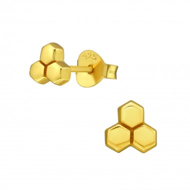 Honeycomb - 925 Sterling Silver Simple Stud Earrings SD39846