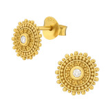 Round - 925 Sterling Silver Simple Stud Earrings SD42148