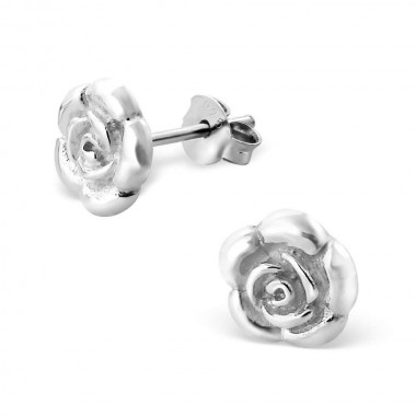 Rose - 925 Sterling Silver Simple Stud Earrings SD580