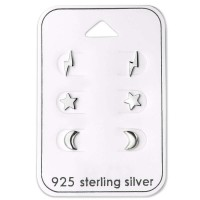 Lightning Star And Moon - 925 Sterling Silver Stud Earring Sets  SD28462