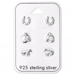 Horse Lovers - 925 Sterling Silver Stud Earring Sets  SD28464